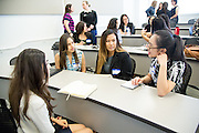 Brenda Alvarado, Megan Ortiz, Alyssa Valiente, Vy Bui during the first event of the Mihaylo College of Business and Economics Women's Leadership Program at California State University Fullerton  on Friday, Nov. 6, 2015 in Fullerton, California.