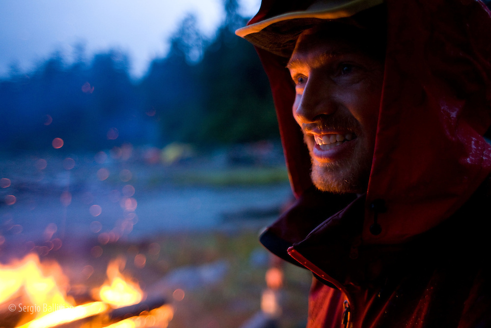 West Coast Trail - Day 4.  Dan Bodine smiles as he shares stories of adventures in the middle of a non-stop rainshower.