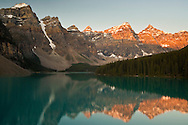 Valley of the Ten Peaks reflected in Moraine Lake at sunrise, Banff National Park, Alberta, Canada