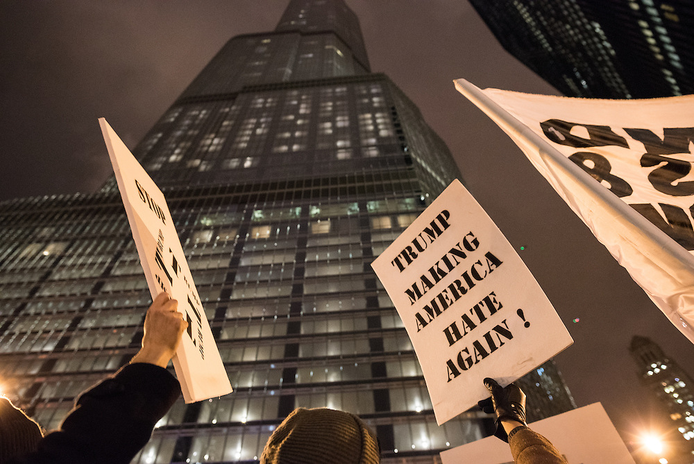 Demonstrators gathered outside of Trump International Hotel and Tower to protest Donald Trump's impending presidency in Chicago on December 1, 2016.