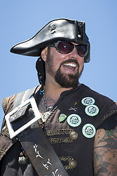 "July 8, 2017 - Seattle, Washington, United States - Seattle, Washington: DAMIAN ""TERRIBLE"" TERRELL arrives at the Seafair Pirates Landing at Alki Beach Park. The iconic event is the unofficial start to summer in Seattle and the kickoff to Seafair. The pirates have a long history dating back to the first Seafair festival in 1950. The summer festival encompasses a wide variety of small neighborhood events leading up to several major city-wide celebrations. The Seafair Pirates are an organization that works year-round entertaining children in hospitals and performing other acts of community service including extensive fundraising. (Credit Image: © Paul Gordon via ZUMA Wire)"