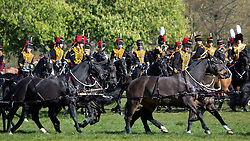 © Licensed to London News Pictures. 28/04/2016. The King's Troop Royal Horse Artillery has had its Annual Inspection at the historic Royal Artillery Barracks in Woolwich, south east London. The Troop, who moved to Woolwich in 2012, gathered on the Parade Ground this morning at the 18th century barracks which has the longest continuous architectural composition in London (329 metres). Music was provided by the Royal Artillery Band. Credit: Rob Powell/LNP