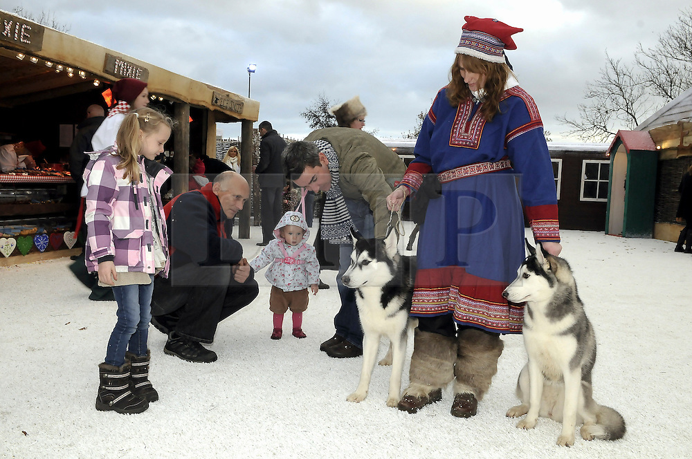 © Licensed to London News Pictures. 26/11/2011. Lamberhurst ,UK. Parents and children playing with husky dogs on the opening day of LaplandUK  in Lamberhurst, Kent today (26/11/2011). The park which is recreated from scratch every year, recreates Father Christmas' arctic homeland. Photo credit : Grant Falvey/LNP