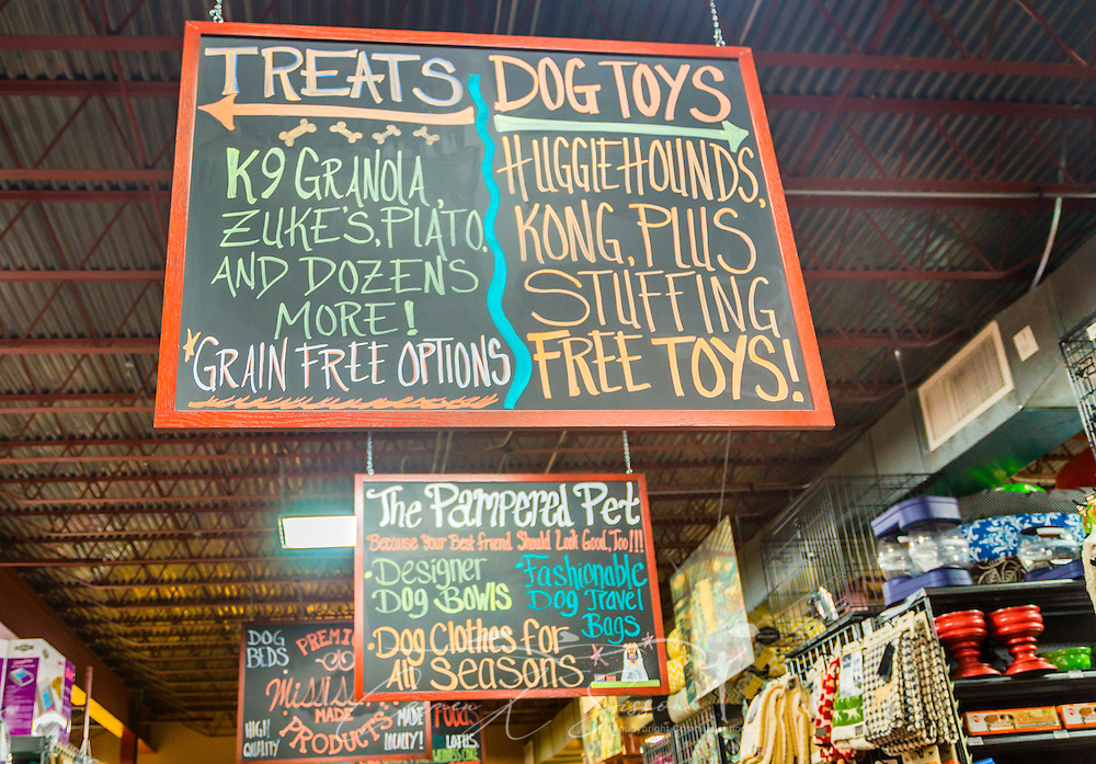An array of pet products greets customers at Hollywood Feed, Sept. 15, 2015, in Memphis, Tenn. Hollywood Feed specializes in premium food and products for dogs and cats. The company decided to lease their own fleet of Mack Pinnacle trucks to take their distribution to the next level. (Photo by Carmen K. Sisson/Cloudybright)