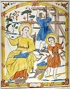 The Holy Family: St Joseph works as carpenter in background, while Mary sews and the boy Jesus sweeps the room. 19th century French coloured woodcut.