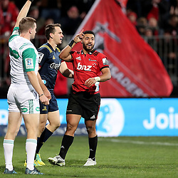 Ben Smith and Richie Mo'unga during the Super Rugby match between the Crusaders and Highlanders at Wyatt Crockett Stadium in Christchurch, New Zealand on Friday, 06 July 2018. Photo: Martin Hunter / lintottphoto.co.nz