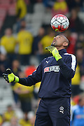 Watford FC goalkeeper Heurelho Gomeswarming up before the Barclays Premier League match between Bournemouth and Watford at the Goldsands Stadium, Bournemouth, England on 3 October 2015. Photo by Mark Davies.