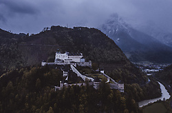 "THEMENBILD - die Festung Hohenwerfen. Sie ist eine mittelalterliche Höhenburg im Salzburger Land zwischen Tennen-, Hagengebirge und Hochkönig im Salzachtal und ist in ihrer Anlage mit der Festung Hohensalzburg vergleichbar, die in denselben Jahren erbaut wurde, aufgenommen am 05. Mai 2019 in Werfen, Oesterreich // the Hohenwerfen Castle. The fortress is surrounded by the Berchtesgaden Alps and the adjacent Tennen Mountains. Hohenwerfen is a ""sister"" of Hohensalzburg Fortress, both built by the Archbishops of Salzburg in the 11th century in Werfen, Austria on 2019/05/05. EXPA Pictures © 2019, PhotoCredit: EXPA/ JFK"