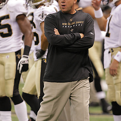 2008 August 16: New Orleans Saints Head Coach Sean Payton looks on as the team runs drills prior to the start of the Saints preseason match up against the Houston Texans at the Louisiana Superdome in New Orleans, LA. .