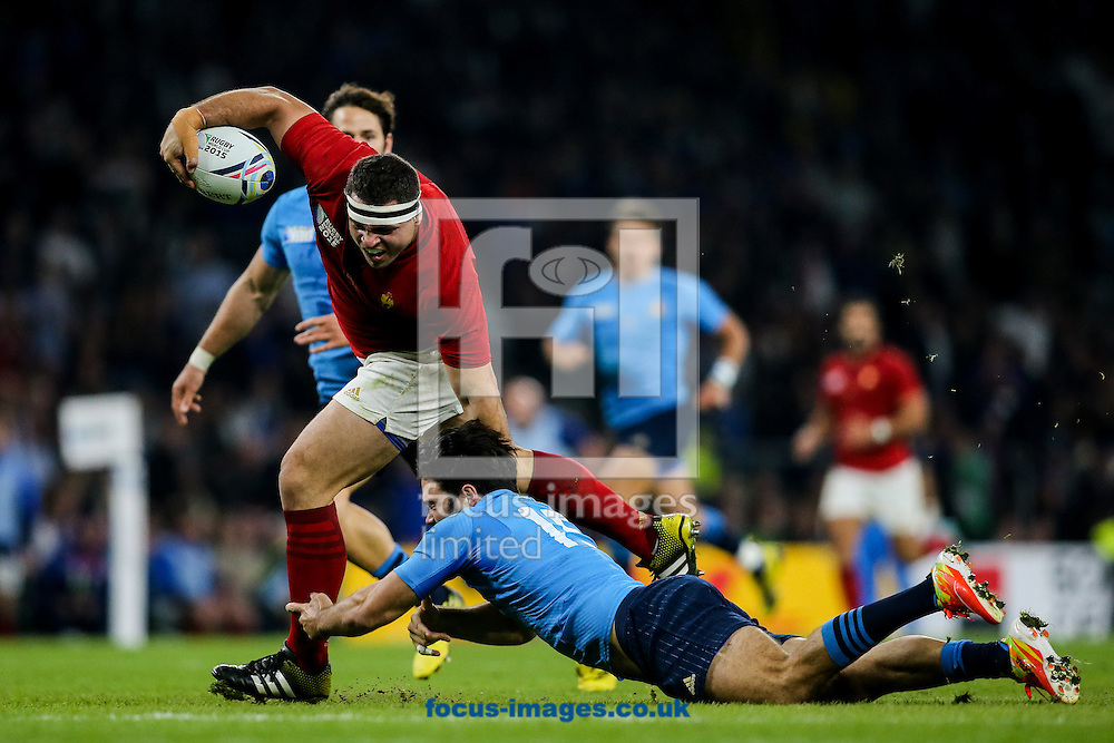 Guilhem Guirado of France is tackled just short of the try line by Luke McLean of Italy (right) during the 2015 Rugby World Cup match at Twickenham Stadium, Twickenham<br /> Picture by Andy Kearns/Focus Images Ltd 0781 864 4264<br /> 19/09/2015