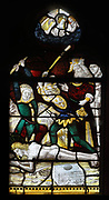 The lashing of the virgin, lancet window, 15th century, in the Chapelle Notre-Dame in the Eglise Notre-Dame de Caudebec-en-Caux, a Flamboyant Gothic catholic church built 15th and 16th centuries, in Caudebec-en-Caux, Normandy, France. The church is listed as a historic monument. Picture by Manuel Cohen