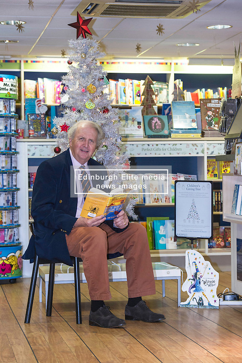 """Pictured: Alexander McCall Smith<br /> <br /> Today,  author Alexander McCall Smith joined customers at Blackwell's Bookshop in Edinburgh as they highlighted a scheme  which children involved with local charities hang """"book wishes"""" and customers have the option to buy the book for the child who has requested it.<br /> <br /> Ger Harley 