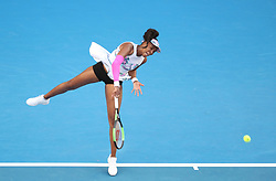 MELBOURNE, Jan. 19, 2019  Venus Williams of the United States serves during the women's singles 3rd round match against Simona Halep of Romania at the Australian Open in Melbourne, Australia, Jan. 19, 2019. (Credit Image: © Bai Xuefei/Xinhua via ZUMA Wire)