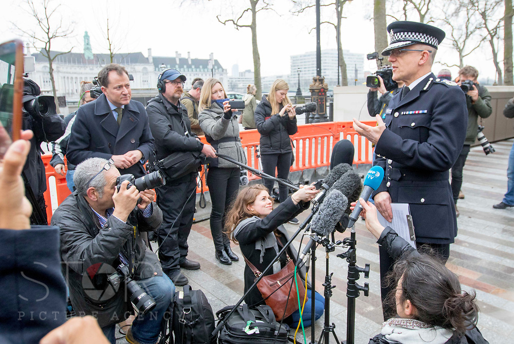 UNITED KINGDOM, London: 23 March 2017 Assistant commissioner of the Metropolitan Police Mark Rowley delivers a statement to members of the media outside of The New Scotland Yard on the morning after a terror attack killed four people including the attacker in Westminster yesterday. Rick Findler / Story Picture Agency