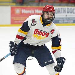 WELLINGTON, ON - FEBRUARY 10: Tyson Gilmour #19 of the Wellington Dukes in the third period on February 10, 2019 at Wellington and District Community Centre in Wellington, Ontario, Canada.<br /> (Photo by Ed McPherson / OJHL Images)