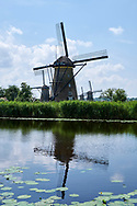 Kinderdijk in the province South Holland, Netherlands with windmills which have been used to drain the polder. Kinderdijk is UNESCO World heritage.