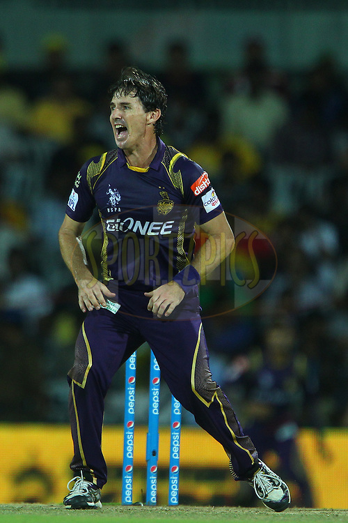Brad Hogg of the Kolkata Knight Riders reacts after a delivery  during match 28 of the Pepsi IPL 2015 (Indian Premier League) between The Chennai Superkings and The Kolkata Knight Riders held at the M. A. Chidambaram Stadium, Chennai Stadium in Chennai, India on the 28th April 2015.<br /> <br /> Photo by:  Ron Gaunt / SPORTZPICS / IPL