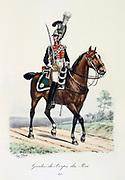 Mounted member of the King's guard, 1815.  From 'Histoire de la maison militaire du Roi de 1814 a 1830' by Eugene Titeux, Paris, 1890.