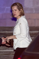 © Licensed to London News Pictures. 07/02/2018. London, UK.  Home Secretary AMBER RUDD arrives at the Natural History Museum in London for the annual Black and White Ball, a fundraiser held by the Conservative Party. Photo credit: Ben Cawthra/LNP