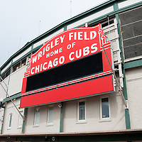 Wrigley Field sign. Wrigley Field is home of the Chicago Cubs and is one of the oldest baseball stadiums in the United States.