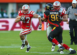 07.06.2014, Ernst Happel Stadion, Wien, AUT, American Football Europameisterschaft 2014, Finale, Oesterreich (AUT) vs Deutschland (GER), im Bild Andreas Hofbauer, (Team Austria, RB, #27), Cosmo Anders, (Team Austria, OL, #75) und Robert Zernicke, (Team Germany, DL, #96) // during the American Football European Championship 2014 final game between Austria and Denmark at the Ernst Happel Stadion, Vienna, Austria on 2014/06/07. EXPA Pictures © 2014, PhotoCredit: EXPA/ Thomas Haumer