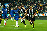Isaac Hayden (#14) of Newcastle United celebrates Newcastle United's first goal (1-0) during the Premier League match between Newcastle United and Chelsea at St. James's Park, Newcastle, England on 18 January 2020.