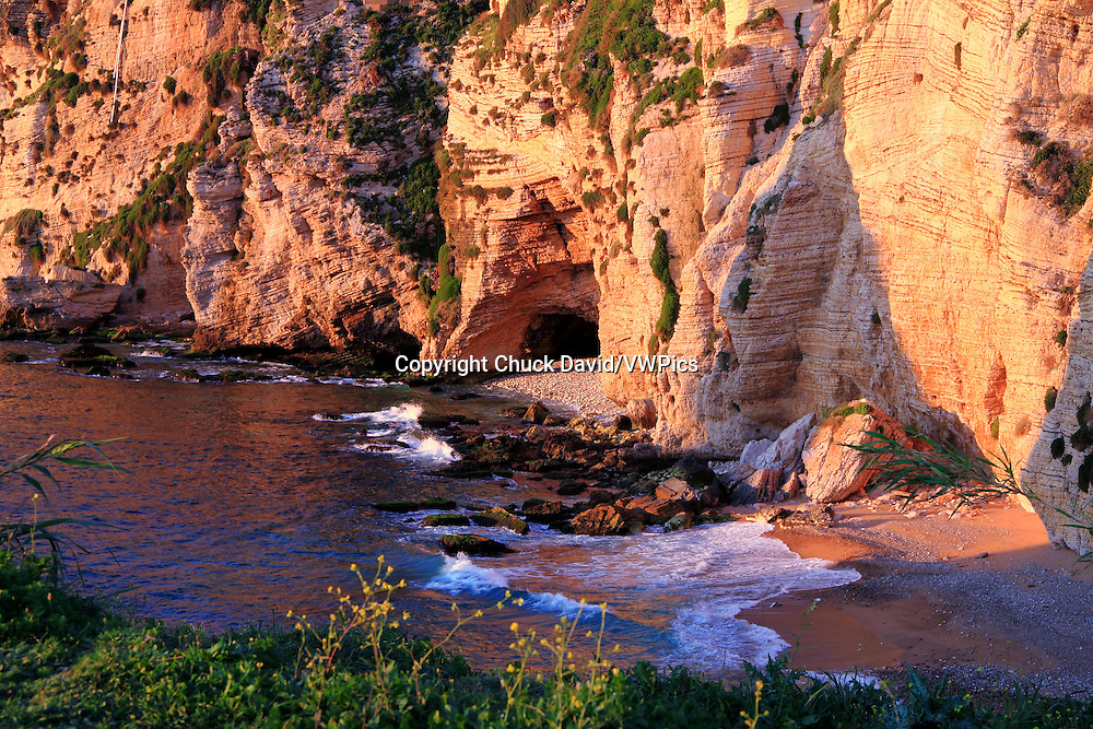 The rocky cliffs of Beirut's Mediterranean shoreline, Lebanon.