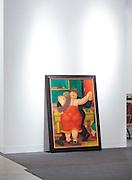 Botero painting awaiting to be hung at Art Basel Miami Beach 2011