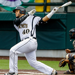 Alabama State first baseman Gustavo Rios (40) knocks in a runner against the Texas Southern during the bottom of the fourth inning of the SWAC baseball championship final in New Orleans, La. Sunday, May 21, 2017.