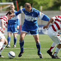 Hamilton Accies v St Johnstone...28.04.07<br /> Paul Sheerin gets between Paul McLeod and James McArthur.<br /> <br /> Picture by Graeme Hart.<br /> Copyright Perthshire Picture Agency<br /> Tel: 01738 623350  Mobile: 07990 594431
