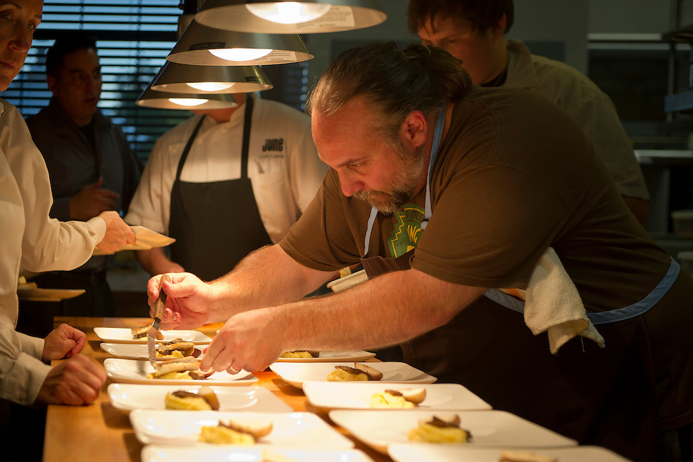 Chef Michael Bulkowski of Revolver in Findley, Ohio cooking side by side with Josh Adams.