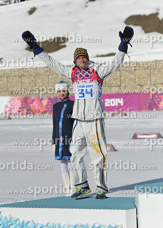 14.02.2014, Laura Cross-country Ski &amp; Biathlon Center, Krasnaya Polyana, RUS, Sochi, 2014, Herren Langlauf 15km, Classic, im Bild OLSSON JOHAN PODIUM // OLSSON JOHAN PODIUM during Mens Cross Country 15km Classic Race of the Olympic Winter Games Sochi 2014 at the Laura Cross-country Ski &amp; Biathlon Center in Krasnaya Polyana, Russia on 2014/02/14. EXPA Pictures &copy; 2014, PhotoCredit: EXPA/ Newspix/ TOMASZ JAGODZINSKI<br /> <br /> *****ATTENTION - for AUT, SLO, CRO, SRB, BIH, MAZ, TUR, SUI, SWE only*****