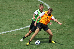 BALTIMORE, MD - Friday, July 27, 2012: Liverpool's Martin Skrtel and Jordan Henderson during a training session ahead of the pre-season friendly match against Tottenham Hotspur at the M&T Bank Stadium. (Pic by David Rawcliffe/Propaganda)