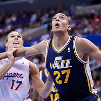 23 October 2013: Utah Jazz center Rudy Gobert (27) vies for the rebound with Los Angeles Clippers power forward Lou Amundson (17) during the Los Angeles Clippers 103-99 victory over the Utah Jazz at the Staples Center, Los Angeles, California, USA.