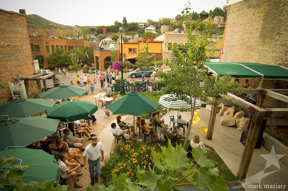 outdoor music performances in Miner's Park Plaza on Main Street, Park city, Utah USA