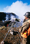 Scientist at Puu Oo Vent, Kilauea Volcano, Island of Hawaii