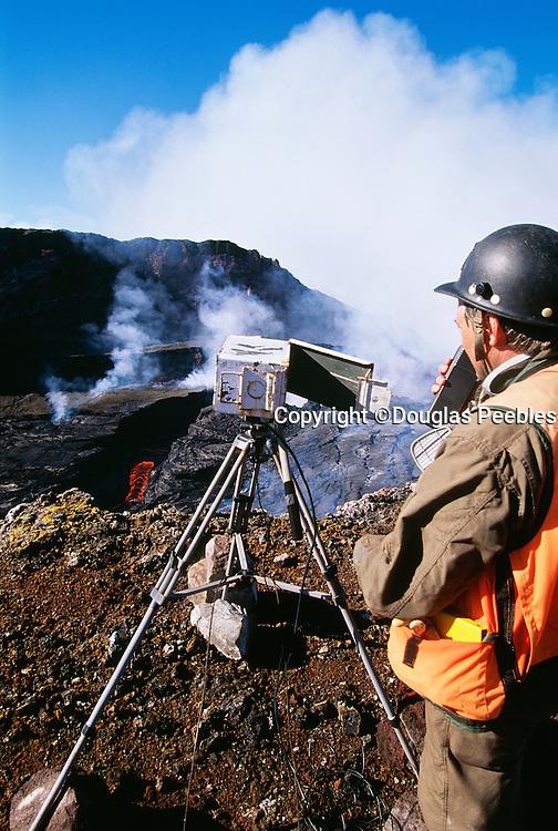 Scientist at Puu Oo Vent, Kilauea Volcano, Island of Hawaii
