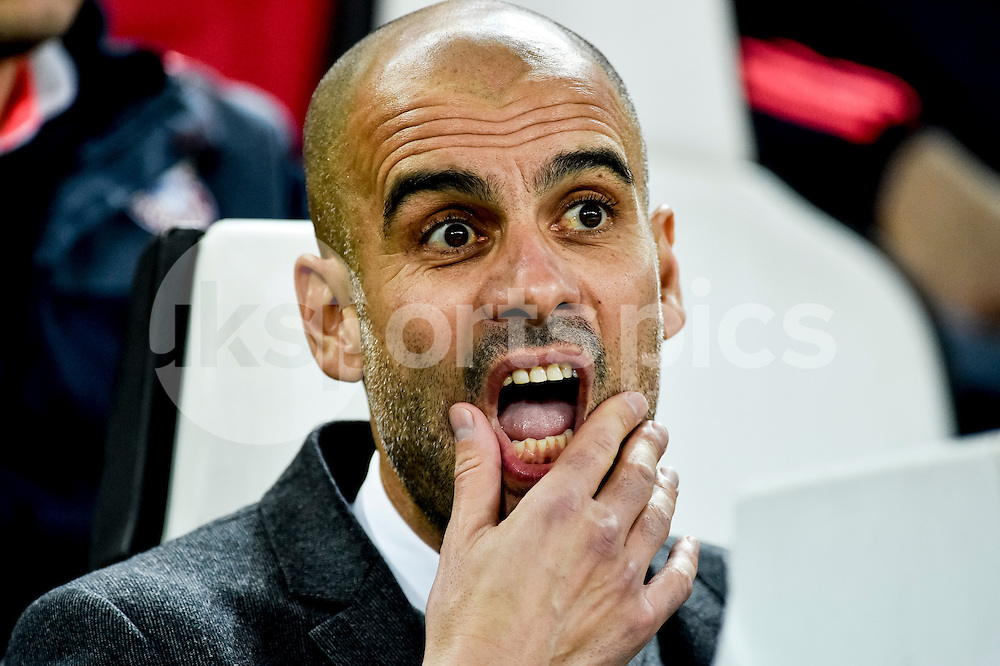 Head coach of Bayern Munchen Josep Guardiola  during the UEFA Champions League match Round of 16 between Juventus and Bayern Munich at the Juventus Stadium, Turin, Italy on 23 February 2016. Photo by Giuseppe Maffia.