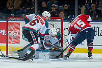 KELOWNA, CANADA - JANUARY 17: Jordy Bellerive #15 of the Lethbridge Hurricanes tries to put the puck past Brodan Salmond #31 of the Kelowna Rockets on January 17, 2017 at Prospera Place in Kelowna, British Columbia, Canada.  (Photo by Marissa Baecker/Shoot the Breeze)  *** Local Caption ***