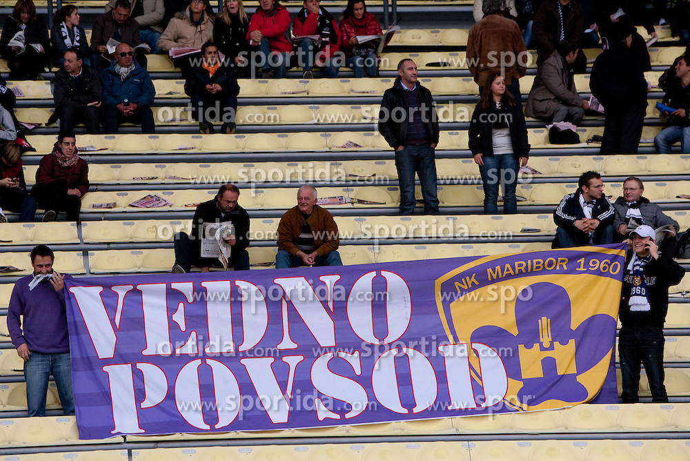 Fans of NK Maribor during football match between Udinese Calcio and Palermo in 8th Round of Italian Seria A league, on October 24, 2010 at Stadium Friuli, Udine, Italy.  Udinese defeated Palermo 2 - 1. (Photo By Vid Ponikvar / Sportida.com)