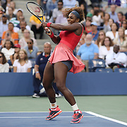 Serena Williams, USA, in action against Victoria Azarenka, Belarus, during the Women's Singles Final at the US Open, Flushing. New York, USA. 8th September 2013. Photo Tim Clayton