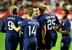 January 27, 2019 - Glendale, AZ, U.S. - GLENDALE, AZ - JANUARY 27: The United States of America Men's National Team celebrates a goal during the international friendly between the United States Men's National Team and Panama on January 27th, 2019 at State Farm Stadium in Glendale, AZ (Photo by Adam Bow/Icon Sportswire) (Credit Image: © Adam Bow/Icon SMI via ZUMA Press)