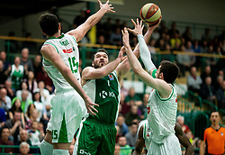 Dalibor Dzapa of Krka between Mirza Begic of Petrol Olimpija and Aleksandar Lazic of Petrol Olimpija during basketball match between KK Krka and KK Petrol Olimpija in 22nd Round of ABA League 2018/19, on March 17, 2019, in Arena Leon Stukelj, Novo mesto, Slovenia. Photo by Vid Ponikvar / Sportida
