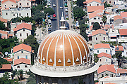 Israel, Haifa, The Bahai Gardens, The golden dome of the Shrine of the Bab.