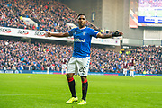 Alfredo Morelos (#20) of Rangers FC celebrates after scoring the opening goal during the Ladbrokes Scottish Premiership match between Rangers FC and Heart of Midlothian FC at Ibrox Park, Glasgow, Scotland on 1 December 2019.