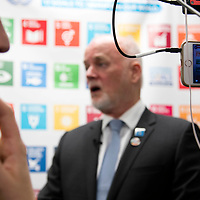Peter Thomson, President of the 71st session of the General Assembly gives a Facebook Live interview outside the SDG Media Zone during The Ocean Conference at the UN on June 05, 2017.