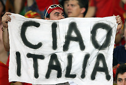 "Spanish fans celebrate victory with a sign ""Ciao Italia"" after penalty shots at the UEFA EURO 2008 Quarter-Final soccer match between Spain and Italy at Ernst-Happel Stadium, on June 22,2008, in Wien, Austria.  (Photo by Vid Ponikvar / Sportal Images)"