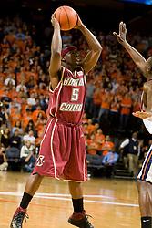 Boston College guard Biko Paris (5) in action against Virginia.  The Virginia Cavaliers men's basketball team defeated the Boston College Golden Eagles 84-66 at the John Paul Jones Arena in Charlottesville, VA on January 19, 2008.
