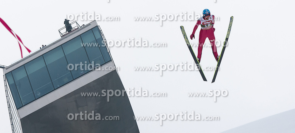 03.01.2015, Bergisel Schanze, Innsbruck, AUT, FIS Ski Sprung Weltcup, 63. Vierschanzentournee, Innsbruck, Training, im Bild Bartlomiej Klusek (POL) // Bartlomiej Klusek of Poland soars through the air during a training session for the 63rd Four Hills Tournament of FIS Ski Jumping World Cup at the Bergisel Schanze in Innsbruck, Austria on 2015/01/03. EXPA Pictures © 2015, PhotoCredit: EXPA/ Jakob Gruber