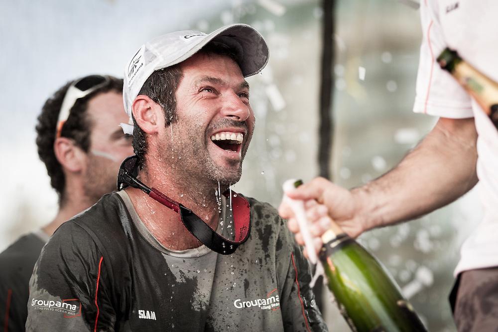 BRAZIL, Itajai.10th April 2012. Volvo Ocean Race. Olivier Mainguy, Rigger, Groupama celebrates finishing third on Leg 5 of the Volvo Ocean Race.